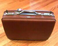 "Vintage 20"" American Tourister CARAMEL BROWN Hard Shell Suitcase Luggage W/KEYS"