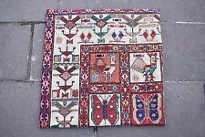Decorative Sumac Kilim Pillow, Handmade Vintage Kilim Pillow Cover 22.8 x 23.6