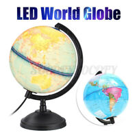 HomeTabletop World Earth Globe Geography Education Map LED Light+Rotating Base