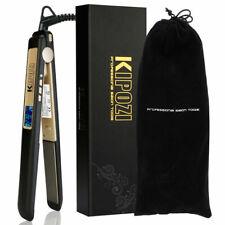 KIPOZI Plancha de pelo para el hogar 2 en 1 negro mate Placa de 1 pulgada Nano