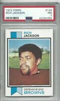 1973 Topps football card #129 Rich Jackson, Cleveland Browns graded PSA 7