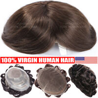 Natural Men Toupee 100% Remy Human Hair Hairpiece Wig Swiss Lace Thin Skin Wavy
