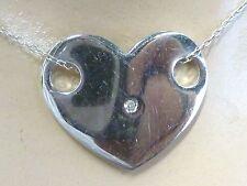 "Sterling Silver Slide Heart Pendant w Cz Center Dainty Chain 18"" Long"