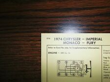 1974 Chrysler Imperial Dodge Plymouth 440 V8 4BBL SUN Tune Up Chart Great Shape