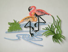 TROPICAL - PINK FLAMINGO EMBROIDERED IRON ON APPLIQUE