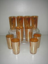 "Jeannette Glass SPIRAL Iridescent Marigold 10 Tumbler w Box 5"" Depression."