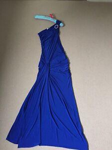 KDK Blue One Shoulder Long Formal Prom Cruise Maxi Dress Side Split UK 10