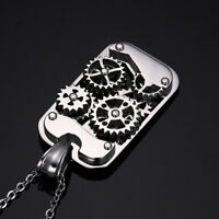Biker Stainless Steel Punk Men Necklace Gear Dog Tag Mechanical Necklace