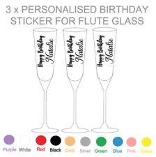 3 x PERSONALISED BIRTHDAY - VINYL STICKER - FLUTE GLASS