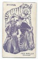 Rare 1920's Film Star & Animals Strip Card Ted Wells / Hyena