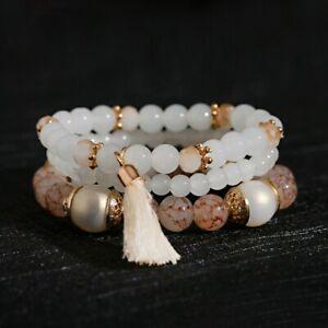 Reiki Healing Crystal Healing Moonstone Bracelets Gemstone Beads Tassel Bangles