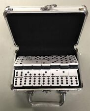 Dominoes Double 6 Six Jumbo Size Two Tone Tile  Black White With Metal Case