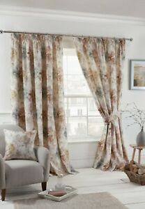"Sundour ""Woodland"" Trees Watercolour Fully Lined 3"" Pencil Pleat Curtains Blush"