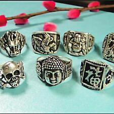 6pcs Vintage tibet silver rings multi-style men wholesale jewelry free shipping