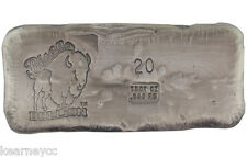 20 TROY OUNCE .999 FINE SILVER HAND POURED BISON BULLION STANDARD BAR NEBRASKA
