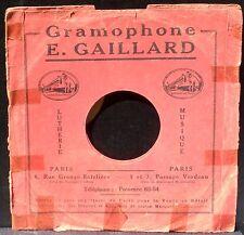 Pochette 78 trs / 78 RPM Gramophone Gaillard Paris Grange batelière Médiocre