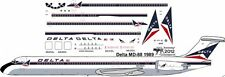 Delta delivery McDonnell Douglas MD-88 airliner decals for Minicraft 1/144 kits