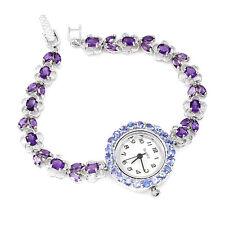 Sterling Silver 925 Genuine Natural Tanzanite & Amethyst Watch 8 Inch