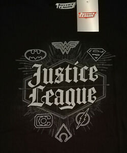 °OFFICIAL JUSTICE LEAGUE LOGOS T-SHIRT° Batman Superman Wonder Woman Große M