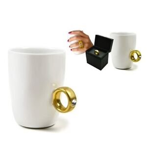 White Coffee Tea Cup Mug Wedding Engagement Gold 2 Carat Ring Style Gift Boxed