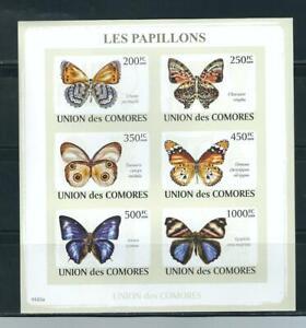 Comoros SC # 1091a-f Butterflies , Miniature Sheet Imperforated. MNH