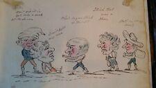 1820'S ANTIQUE CARICATURE CARTOON PUGILISTS - ORIGINAL PEN & INK DRAWING