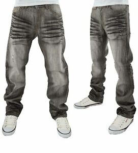 Rocawear Men's Grey Wash At Will Denim Jeans, New Hip Hop Time Is Money Era RC37