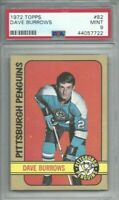 1972 Topps hockey card #82 Dave Burrows, Pittsburgh Penguins graded PSA 9