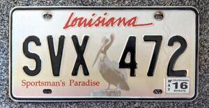 Louisiana 2016 Brown Pelican License Plate SVX 472 Sportsman's Paradise