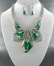 Statement Green Clear Faceted Resin Stud Silver Tone Necklace Earring