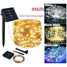 5M 10M 30M LED Solar String Lights Waterproof Copper Wire Fairy Outdoor Garden