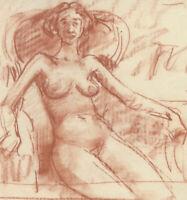 Peter Collins ARCA - c.1970s Sanguine, Female Nude Sitting