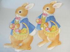Vintage Spring Easter Large Jointed Bunny Chick Egg Basket Diecut Decoration Lot