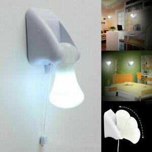 LED Wall Night Light Bulb Cordless Battery Portable Handy Pull String Lamp PP996