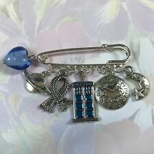 FUNKY DR WHO inspired Silver Tone Kilt Pin Brooch 5 charms  present in gift bag