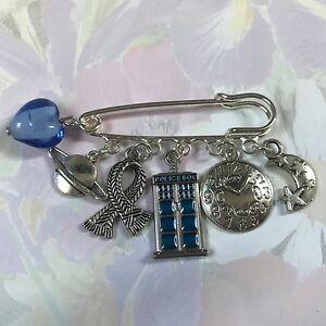 FUNKY DR WHO theme Kilt Pin Brooch 5 Tibetan Silver Charms  present gift bag