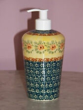 Genuine UNIKAT Polish Pottery Lotion or Soap Dispenser!  Mama Rose Pattern!