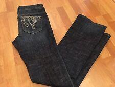 BEBE Dark Boot Cut Stretch Jeans Rhinestone Embroidered Pocket NWOT - 30