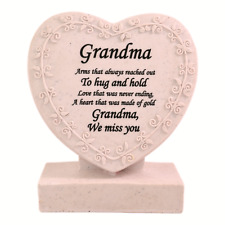 Grandma Heart Shaped Memorial Grave Plaque Cremation Marker