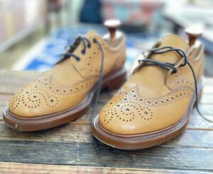 Made In England Sanders Fakenham Brown Leather Trickers Brogue Wingtip Shoes 8 M
