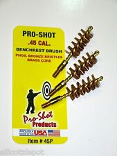 THREE (3) .45 CALIBER CAL. BRASS PISTOL BORE BRUSH, PRO-SHOT™, 45 ACP fits M1911