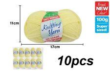 10 X Knitting Yarn Wool Acrylic 8 Ply 100g Lemon 100 (win-109)
