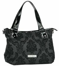 GG Rose by Rock Rebel Vixen Day Bag Black Flocked Damask Victorian Purse