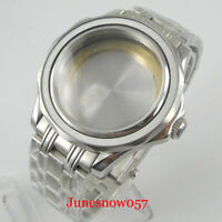 Steel 41mm Watch Case Bracelet for NH35 NH36 Flat Sapphire Crystal Screw Crown