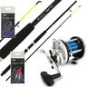 NGT BOAT FISHING ROD + JD300 MULTIPLIER REEL SEA FISHING COMBO + FEATHERS RIGS