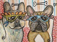 French Bulldog Mardi Gras Collectible Dog Folk Art Original 9x12 Pastel Painting