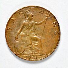 GB GEORGE V FARTHING 1913 ++ SHARP GRADE!! ++ [826-42]