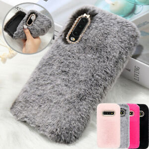 Luxury Bling Diamonds Furry Cosy Phone Cover Case For Samsung A20e A40 A50 A70