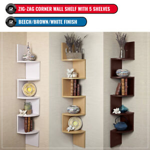 Zig Zag MDF Wood Floating Corner Wall Shelf Unit Modern Display Shelving 5 Tier