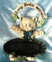 "Small Vintage Ceramic Cat Bird Feeder 6"""